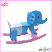 2014 nouveau jouet en bois de cheval d'enfants, cheval en bois bascule populaire pour des enfants avec la couleur naturelle, cheval à bascule en bois mignon bébé W16D023