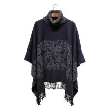Lady Fashion Paisley Jacquard Acryl gestrickt Winter Rollkragen Poncho (YKY4509)