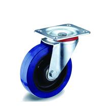 Industrial Blue Elastic Rubber Swivel Casters