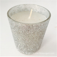 Glitter Printing Multi Colored Paraffin Wax Glass Jar Candle