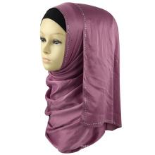 Meilleure vente femmes musulmanes tête dubai diamant maxi écharpe châle bijou soie satin pierre hijab