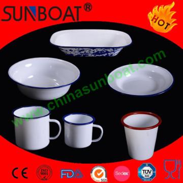 Vaisselle émaillée en porcelaine blanche + tasse + bol