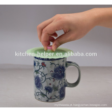 China fabricante Eco-friendly Food Grade Gift Sealing portátil reutilizáveis café Silicone Copa tampa, tampa de chá tampa de silicone tampa