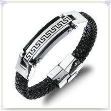 Pulseira de aço inoxidável couro pulseira de couro da jóia (lb100)