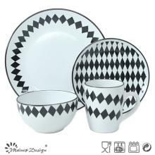 Ensemble de dîner en grès design Loaenge en noir et blanc