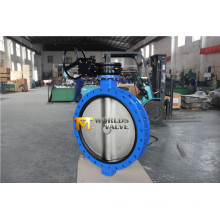 U Section Double Flange Butterfly Valve with Gearbox