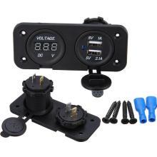Двойной USB зарядное устройство гнездо/адаптер/зарядное устройство/вольтметр цифровой 12В-24В
