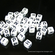 top quality food grade 10mm silicone beads acrylic letter beads/ alphabet beads