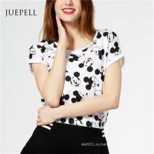 Микки Печать Хлопок Женщины T Рубашка