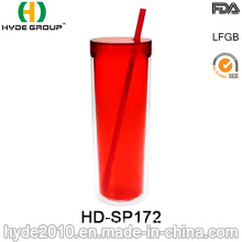 Double Wall Reusable Acrylic Tumbler with Straw