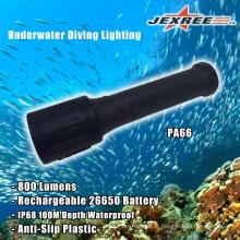 Batterie rechargeable sous pression 26650 d'éclairage LED en plastique pour la plongée