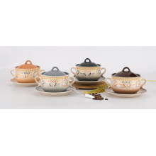 Ceramic Soup Bowl with Handle (EW12216)