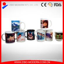 Venta al por mayor taza de café blanca blanca de la porcelana de la sublimación del color 11oz