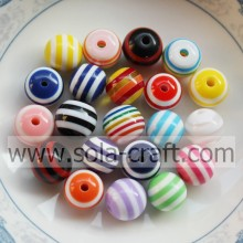 U Pick Colors 500Pcs 12MM Loose Striped Plastic Resin Jewelry Cheap Wholesale Beads For Charm Bracelet