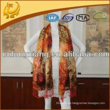 Leopard Digital gedruckt breite und lange Größe reine Seide Schal Pashmina mit 10cm Quaste