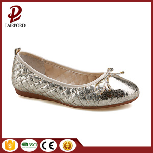 high quality soft gold flat ladies shoes
