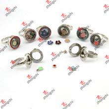 Rodada de vidro Locket anéis jóia por atacado da forma (lr106)