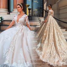 Vestido De Noiva diseñador de lujo completo perlas vestido de novia de manga larga vestido de bola de encaje hinchado 2017 vestido de boda MW2181