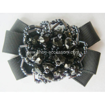 Nice Vintage Black Fabric Flower Shoe Clips Ornaments