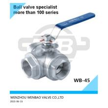 """Válvula de bola de tres vías A351 CF8m 3/4 """"1000 Wog"""
