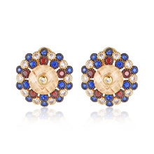 Brilliant Colorful Stone French Clip Round Earrings