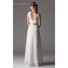 Vestido de novia de encaje palabra de longitud con cuello en V hasta el cuello