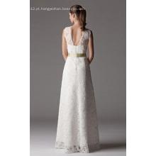 Bainha Coluna com decote em V Vestido de noiva de renda até o chão