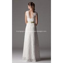 Mantel Spalte V-Ausschnitt bodenlangen Spitze Brautkleid