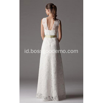 Sheath Column V-neck Gaun Pengantin Lace Lantai-Panjang
