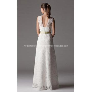 Sheath Column V-neck Floor-length Lace Wedding Dress