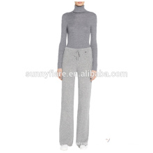 Las mujeres de moda 100% de cachemira tejen pantalones sueltos súper cálidos