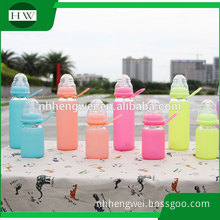 Creative Candy Color Nipple Size Silica Gel Water cup Glass bottle 180ml 300ml