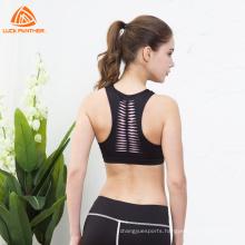 Plus Size Clothing Women Push Up Breathable Laser Cutting Elastic Yoga Removable Padded Sports Bra