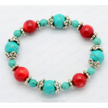 Turquoise red coral bracelet