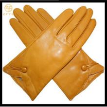 Guantes de cuero amarillo de las mujeres con alta calidad