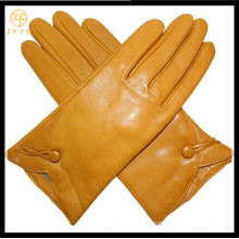 Women's yellow Leather Gloves with high quality