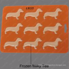 Kitchen magic bpa free silicone Dachshund Dog Shaped ice cube tray mold