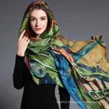 Impression digitale abstraite des femmes en écharpe en laine Hijab
