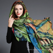 Impressão digital abstrata das mulheres de lenço de lã Hijab