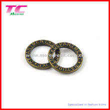 Em relevo logotipo liga de zinco sólido anel redondo, fivela de cinto