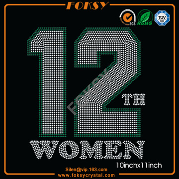 12th Women rhinestone heat transfer vende por atacado