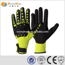 SUNNY HOPE 13 gauge luvas de impacto de manguito amarelo com TPR