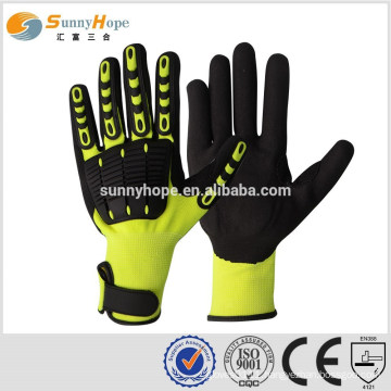 SUNNY HOPE yellow liner Nitrile sandy joker impact mechanic gloves