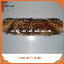 collar de piel de piel de mapache de calidad superior real de color natural de piel para chaqueta