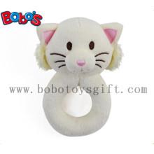 "5.5"" Cute Plush Stuffed White Cat Baby Rattle Toy"