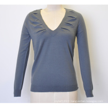 100%Wool Spring V-Neck Pure Color Knit Women Sweater