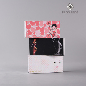 Custom made hardboard pink eyelash box packaging