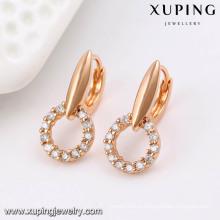 91490 Fashion fantaisie CZ diamant couleur or rose imitation bijoux boucle d'oreille cerceau