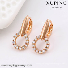 91490 Fashion Fancy CZ Diamond Rose Gold Color Imitation Jewelry Earring Hoop