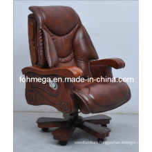 High End Office Chair with Wooden Arms and Legs, Boss / CEO / Chairman Chair (FOH-1221)